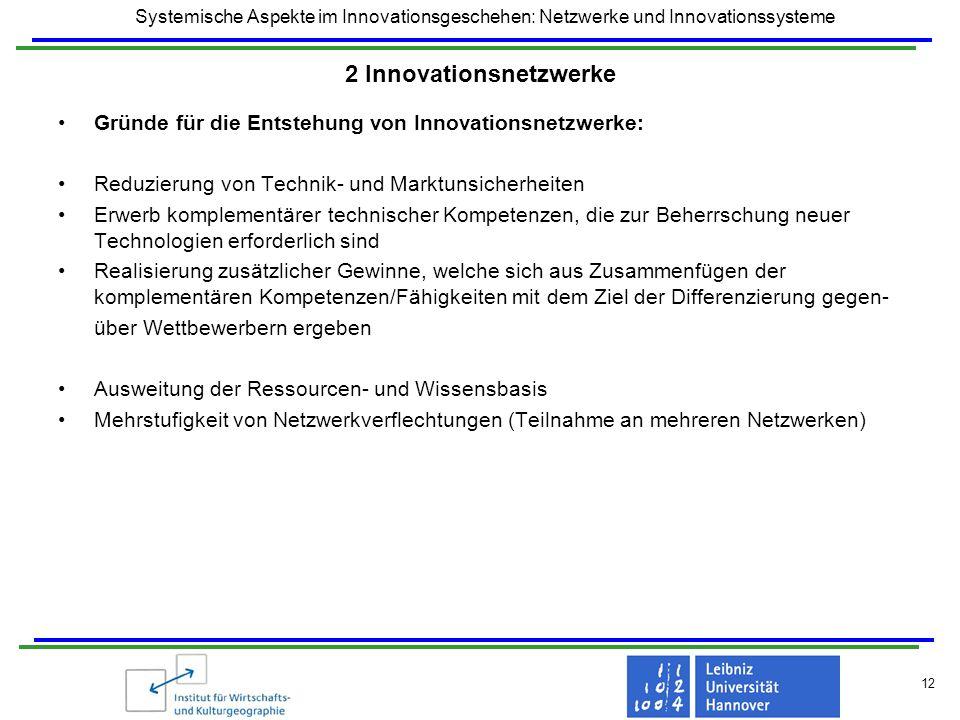 Systemische Aspekte im Innovationsgeschehen: Netzwerke und Innovationssysteme 12 2 Innovationsnetzwerke Gründe für die Entstehung von Innovationsnetzw