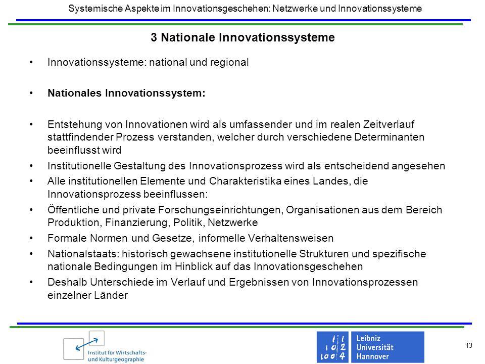 Systemische Aspekte im Innovationsgeschehen: Netzwerke und Innovationssysteme 13 3 Nationale Innovationssysteme Innovationssysteme: national und regio