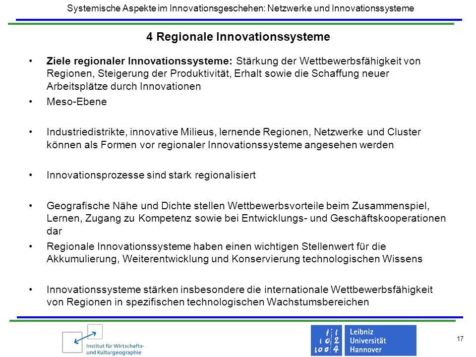 Systemische Aspekte im Innovationsgeschehen: Netzwerke und Innovationssysteme 17 4 Regionale Innovationssysteme Ziele regionaler Innovationssysteme: S