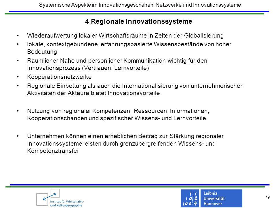 Systemische Aspekte im Innovationsgeschehen: Netzwerke und Innovationssysteme 19 4 Regionale Innovationssysteme Wiederaufwertung lokaler Wirtschaftsrä