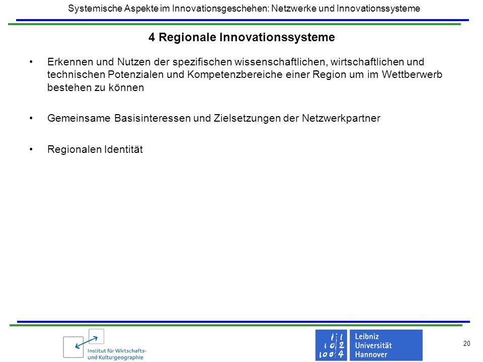 Systemische Aspekte im Innovationsgeschehen: Netzwerke und Innovationssysteme 20 4 Regionale Innovationssysteme Erkennen und Nutzen der spezifischen w