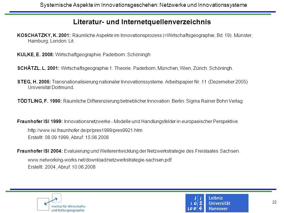 Systemische Aspekte im Innovationsgeschehen: Netzwerke und Innovationssysteme 22 Literatur- und Internetquellenverzeichnis KOSCHATZKY, K. 2001: Räumli