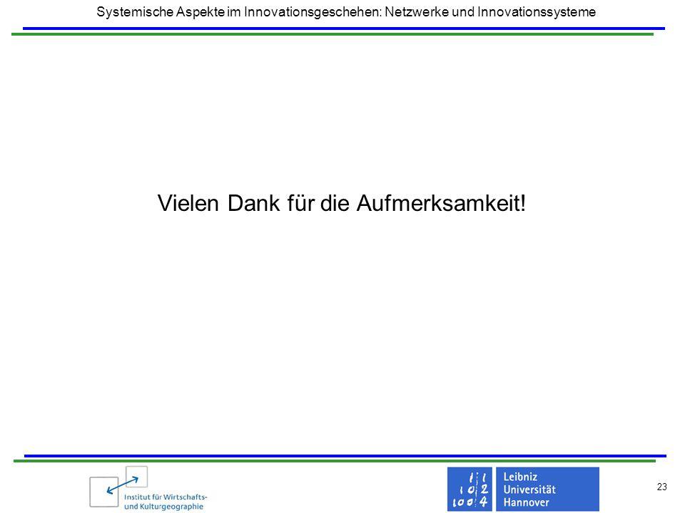 Systemische Aspekte im Innovationsgeschehen: Netzwerke und Innovationssysteme 23 Vielen Dank für die Aufmerksamkeit!