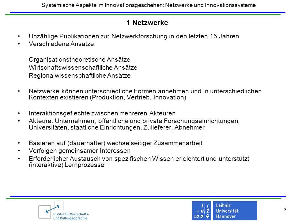 Systemische Aspekte im Innovationsgeschehen: Netzwerke und Innovationssysteme 3 1 Netzwerke Unzählige Publikationen zur Netzwerkforschung in den letzt