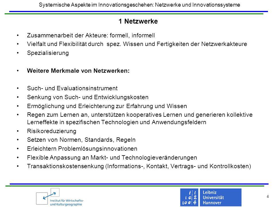 Systemische Aspekte im Innovationsgeschehen: Netzwerke und Innovationssysteme 4 1 Netzwerke Zusammenarbeit der Akteure: formell, informell Vielfalt un