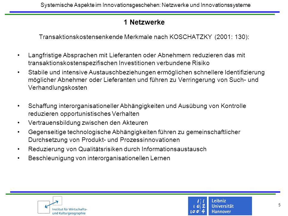 Systemische Aspekte im Innovationsgeschehen: Netzwerke und Innovationssysteme 5 1 Netzwerke Transaktionskostensenkende Merkmale nach KOSCHATZKY (2001: