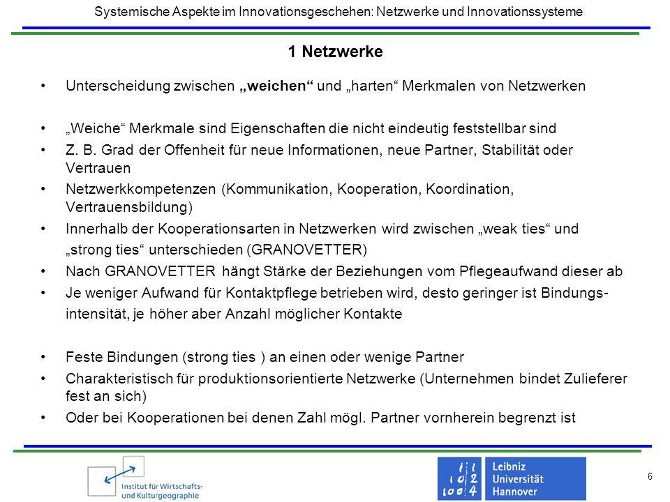 Systemische Aspekte im Innovationsgeschehen: Netzwerke und Innovationssysteme 6 1 Netzwerke Unterscheidung zwischen weichen und harten Merkmalen von N