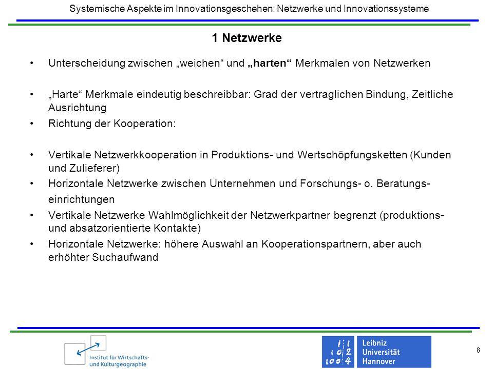 Systemische Aspekte im Innovationsgeschehen: Netzwerke und Innovationssysteme 8 1 Netzwerke Unterscheidung zwischen weichen und harten Merkmalen von N