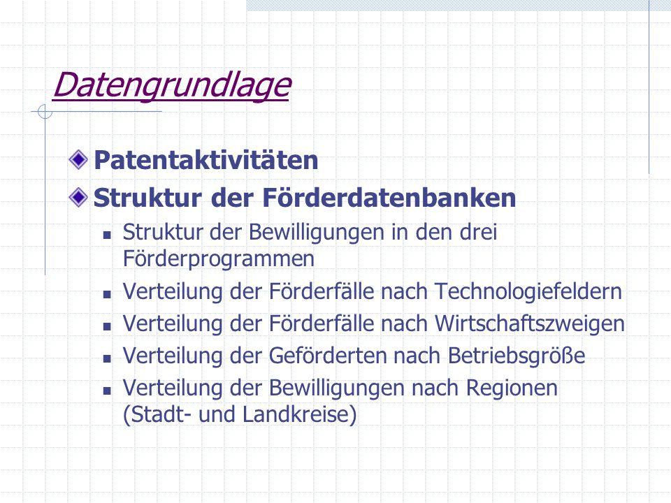 Datengrundlage Patentaktivitäten Struktur der Förderdatenbanken Struktur der Bewilligungen in den drei Förderprogrammen Verteilung der Förderfälle nac