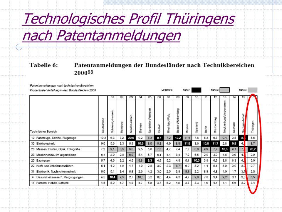 Technologisches Profil Thüringens nach Patentanmeldungen