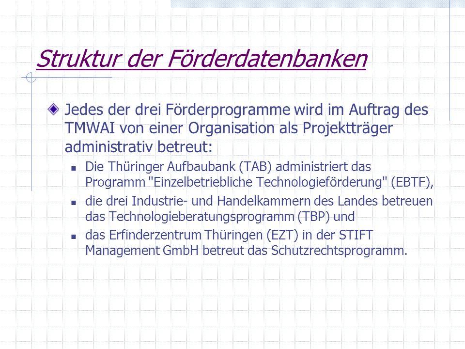 Struktur der Förderdatenbanken Jedes der drei Förderprogramme wird im Auftrag des TMWAI von einer Organisation als Projektträger administrativ betreut