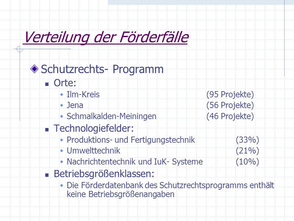 Verteilung der Förderfälle Schutzrechts- Programm Orte: Ilm-Kreis (95 Projekte) Jena(56 Projekte) Schmalkalden-Meiningen (46 Projekte) Technologiefeld