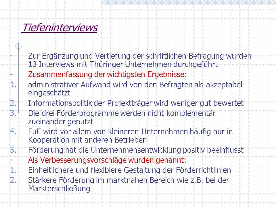 Tiefeninterviews - Zur Ergänzung und Vertiefung der schriftlichen Befragung wurden 13 Interviews mit Thüringer Unternehmen durchgeführt - Zusammenfass