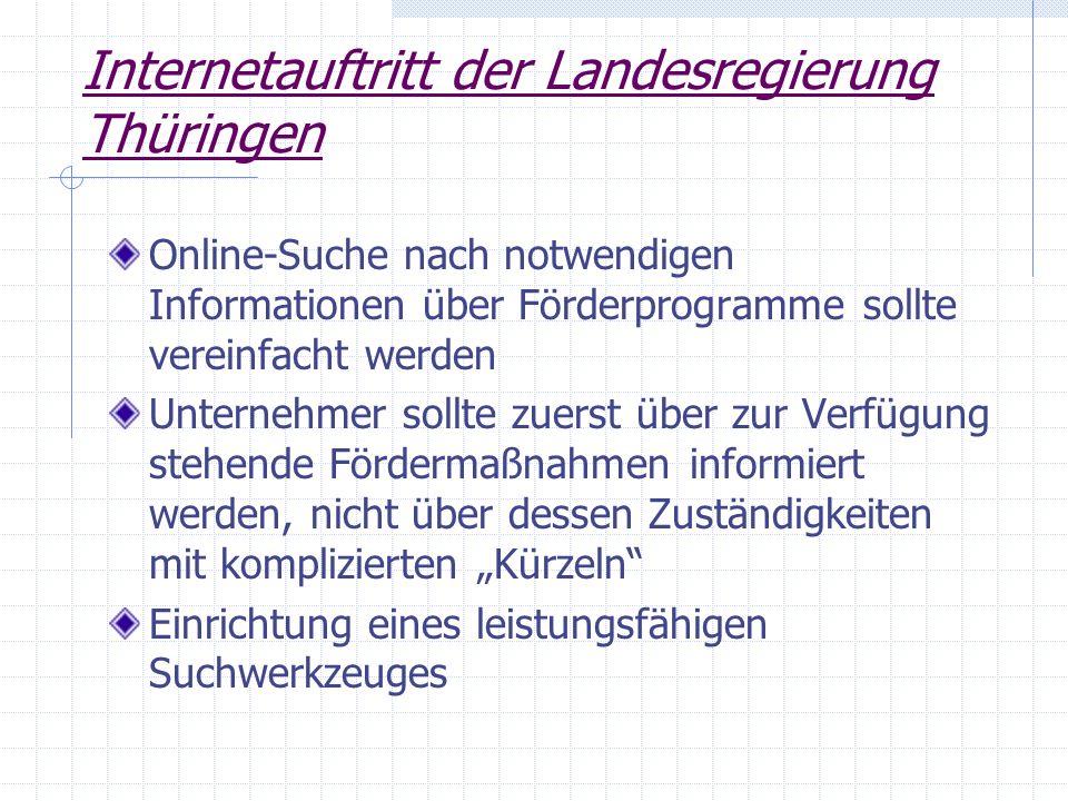 Internetauftritt der Landesregierung Thüringen Online-Suche nach notwendigen Informationen über Förderprogramme sollte vereinfacht werden Unternehmer
