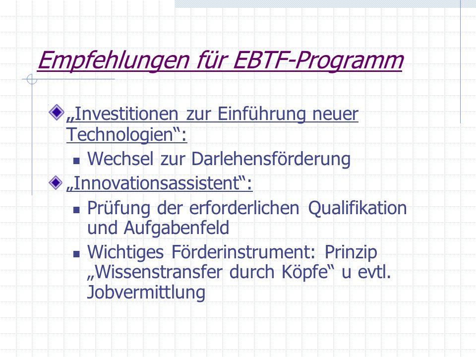 Empfehlungen für EBTF-Programm Investitionen zur Einführung neuer Technologien: Wechsel zur Darlehensförderung Innovationsassistent: Prüfung der erfor