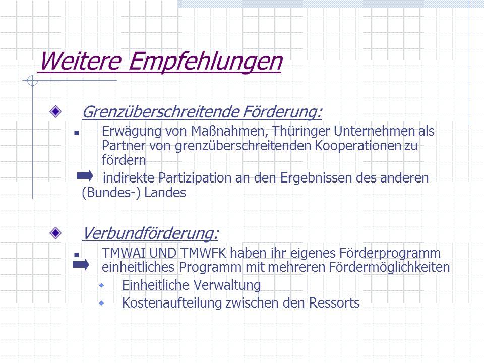 Weitere Empfehlungen Grenzüberschreitende Förderung: Erwägung von Maßnahmen, Thüringer Unternehmen als Partner von grenzüberschreitenden Kooperationen