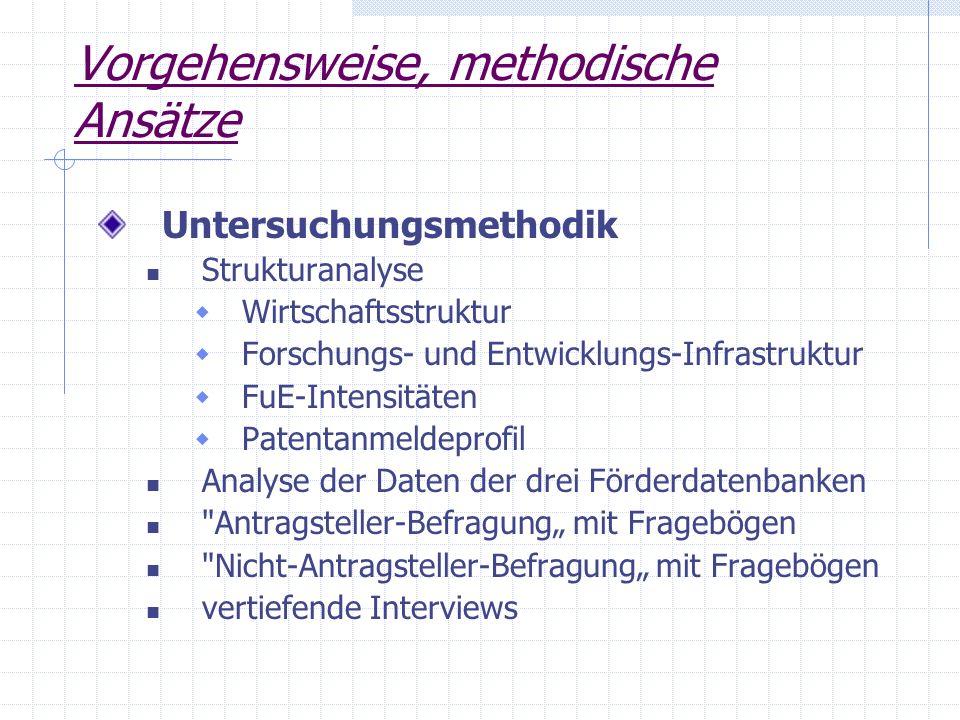 Vorgehensweise, methodische Ansätze Untersuchungsmethodik Strukturanalyse Wirtschaftsstruktur Forschungs- und Entwicklungs-Infrastruktur FuE-Intensitä