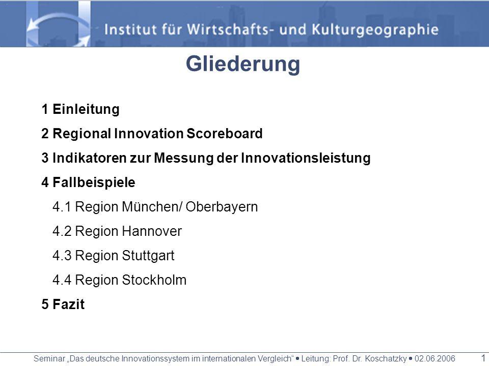 Seminar Das deutsche Innovationssystem im internationalen Vergleich Leitung: Prof. Dr. Koschatzky 02.06.2006 0 Positionierung deutscher Regionen im Eu