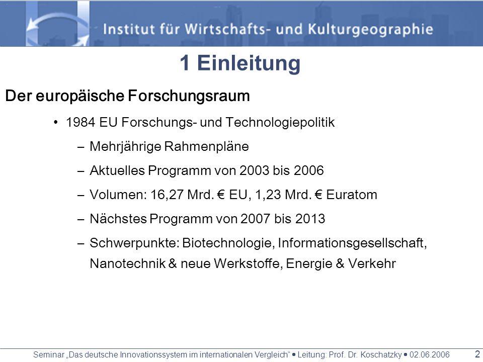 Seminar Das deutsche Innovationssystem im internationalen Vergleich Leitung: Prof. Dr. Koschatzky 02.06.2006 1 Gliederung 1 Einleitung 2 Regional Inno