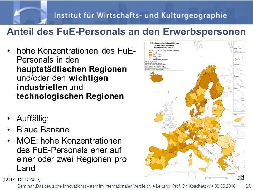 Seminar Das deutsche Innovationssystem im internationalen Vergleich Leitung: Prof. Dr. Koschatzky 02.06.2006 19 Die 15 führenden Regionen bei der FuE-