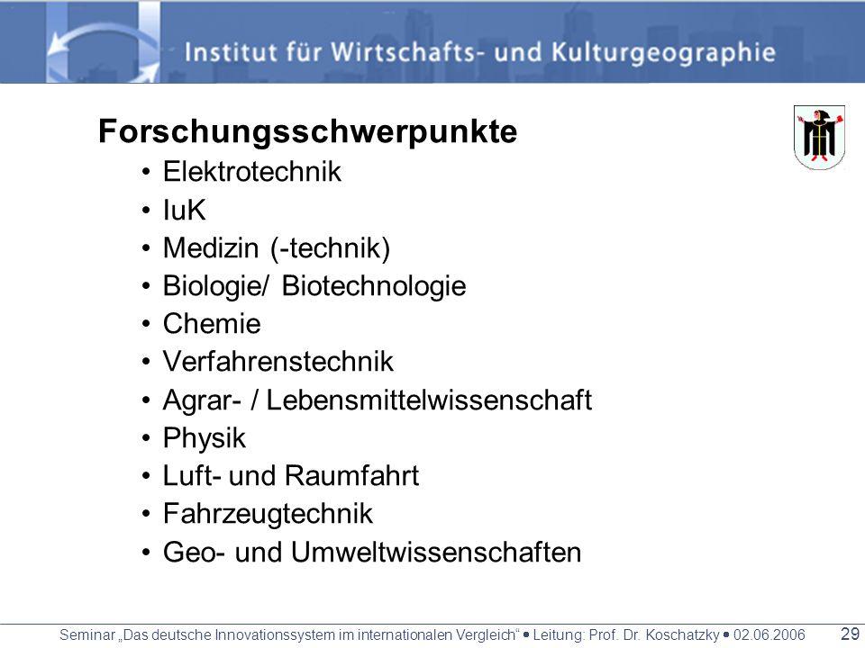 Seminar Das deutsche Innovationssystem im internationalen Vergleich Leitung: Prof. Dr. Koschatzky 02.06.2006 28 Wirtschaftlich Diversifizierte Wirtsch