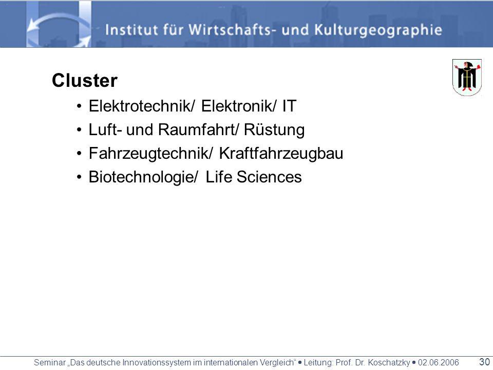 Seminar Das deutsche Innovationssystem im internationalen Vergleich Leitung: Prof. Dr. Koschatzky 02.06.2006 29 Forschungsschwerpunkte Elektrotechnik