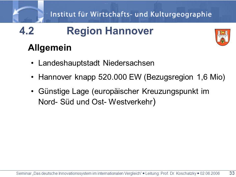 Seminar Das deutsche Innovationssystem im internationalen Vergleich Leitung: Prof. Dr. Koschatzky 02.06.2006 32 Erfolgsfaktoren Als Landeshauptstadt u