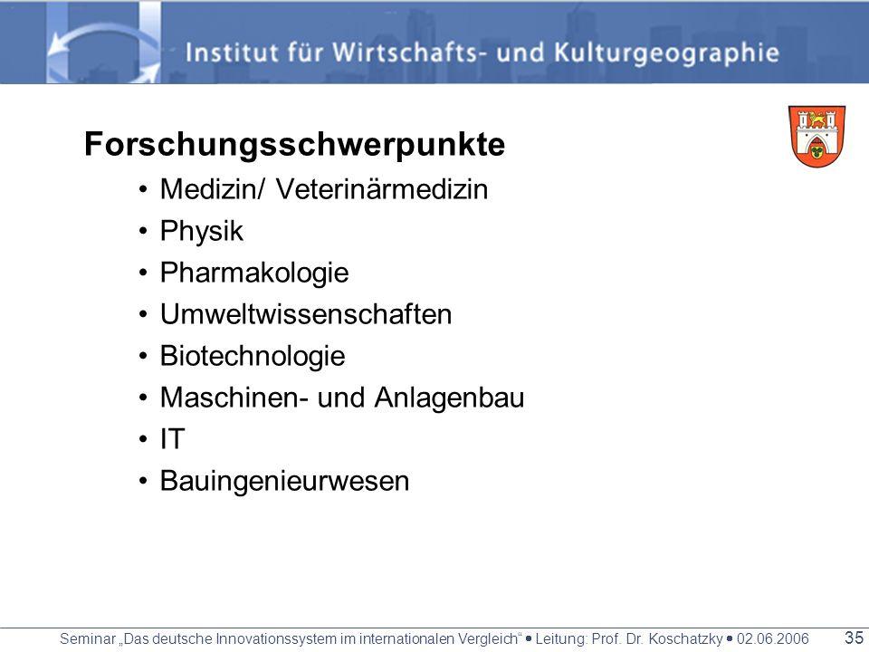 Seminar Das deutsche Innovationssystem im internationalen Vergleich Leitung: Prof. Dr. Koschatzky 02.06.2006 34 Wirtschaftlich Ausgesprochene DL- Regi