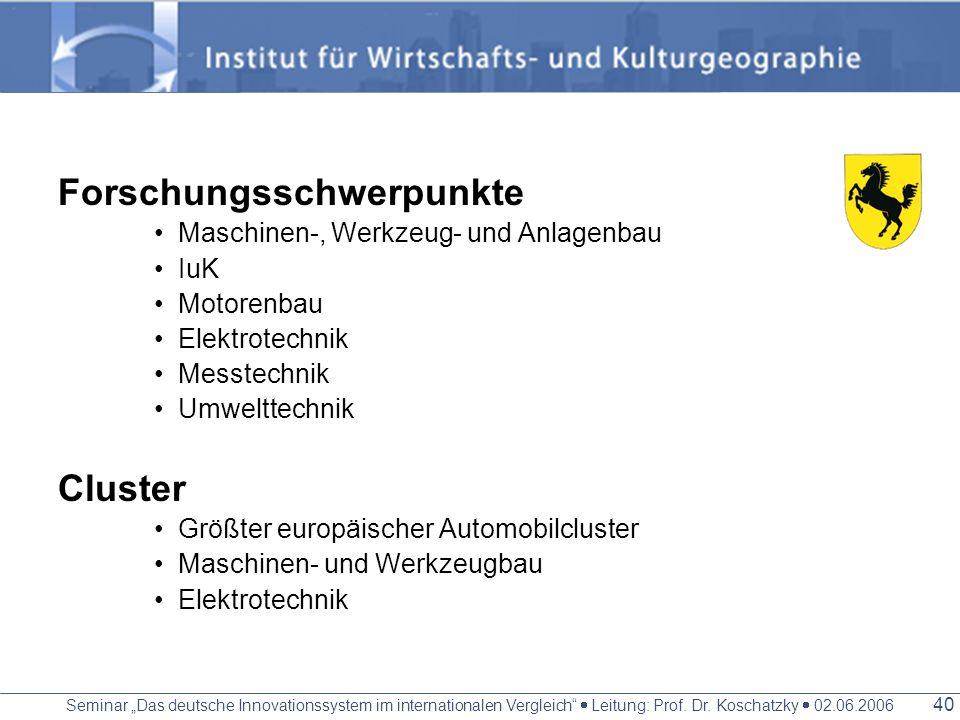 Seminar Das deutsche Innovationssystem im internationalen Vergleich Leitung: Prof. Dr. Koschatzky 02.06.2006 39 Wirtschaft Kernregion der mittelständi