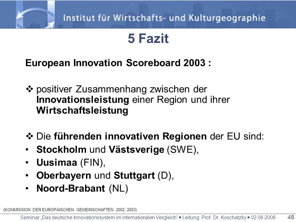 Seminar Das deutsche Innovationssystem im internationalen Vergleich Leitung: Prof. Dr. Koschatzky 02.06.2006 45 Stockholm führende Region im europäisc