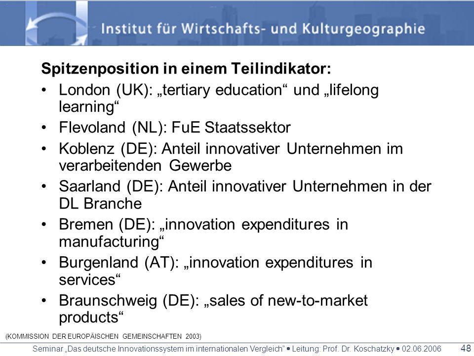 Seminar Das deutsche Innovationssystem im internationalen Vergleich Leitung: Prof. Dr. Koschatzky 02.06.2006 47 2 verschiedene Typen von Spitzenregion