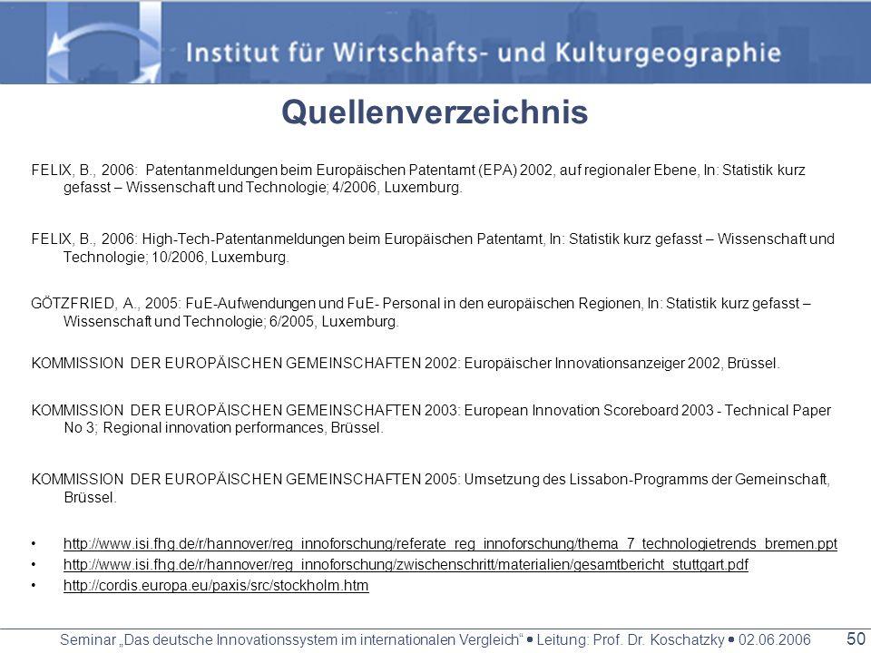 Seminar Das deutsche Innovationssystem im internationalen Vergleich Leitung: Prof. Dr. Koschatzky 02.06.2006 49 VIELEN DANK FÜR EURE AUFMERKSAMKEIT C.