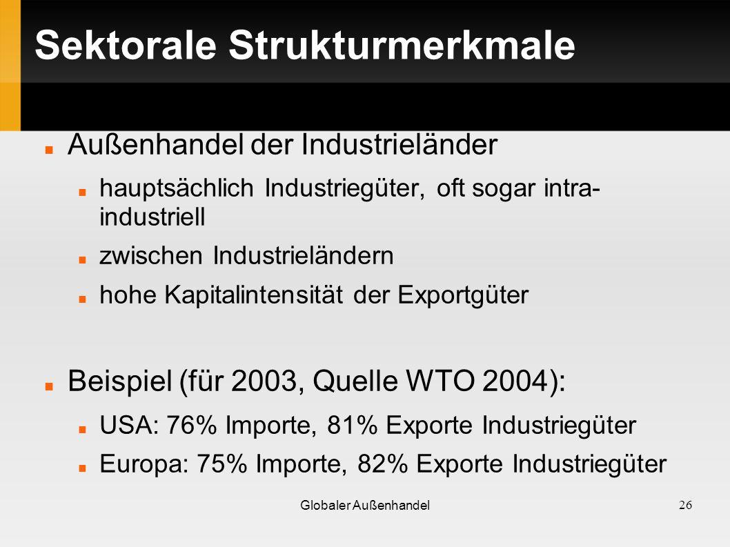Sektorale Strukturmerkmale Außenhandel der Industrieländer hauptsächlich Industriegüter, oft sogar intra- industriell zwischen Industrieländern hohe K