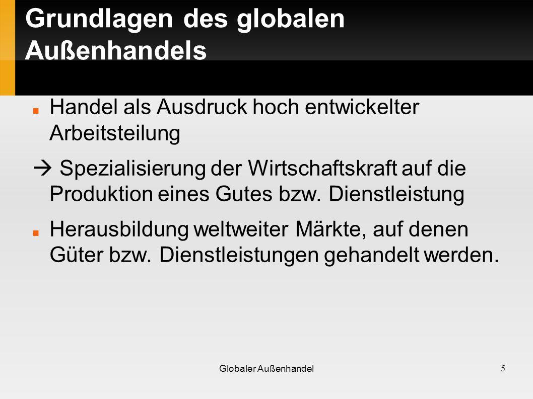 Überblick der Entwicklung Außenhandel Deutschlands 2002 betrug das Volumen der weltweiten Exporte etwa dem 10-fachen des Wertes von 1960 Binnenwirtschaftliche Produktion der Exportgüter stieg im gleichen Zeitraum insgesamt nur um das 4-fache.