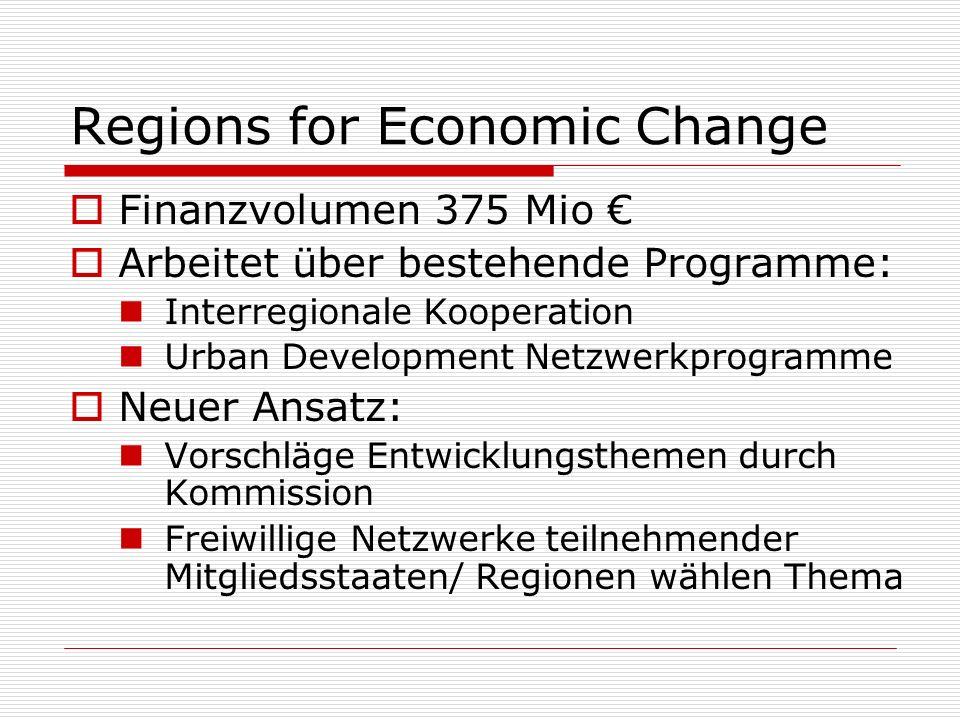 Regions for Economic Change Fast-Track Option Testfelder für Modernisierungsideen Two-Way Bridge Wechselseitiger Austausch Integration in bestehende Programme Weitergabe der Resultate RFEC-Konferenz Preise für beste Projektideen