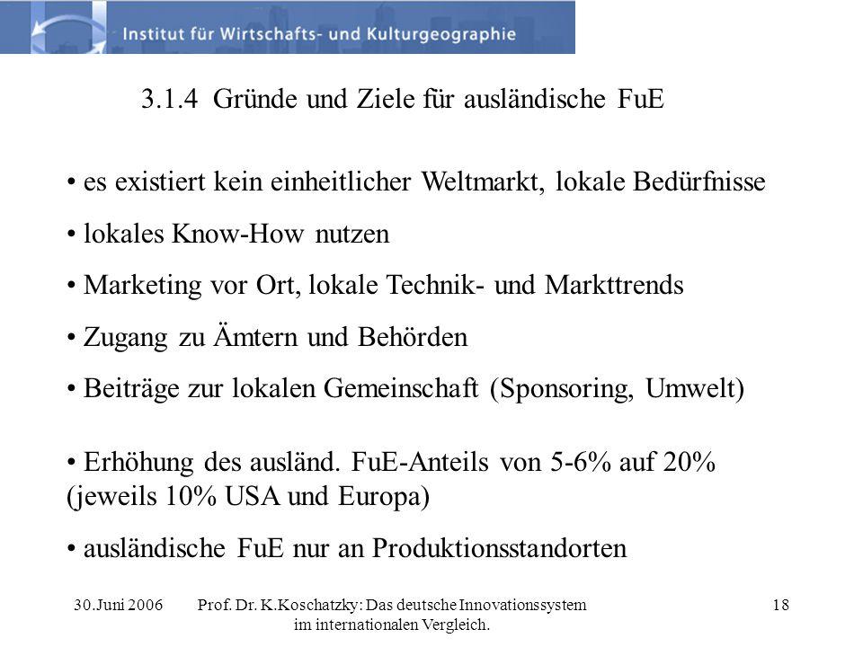 30.Juni 2006Prof. Dr. K.Koschatzky: Das deutsche Innovationssystem im internationalen Vergleich. 18 3.1.4 Gründe und Ziele für ausländische FuE es exi