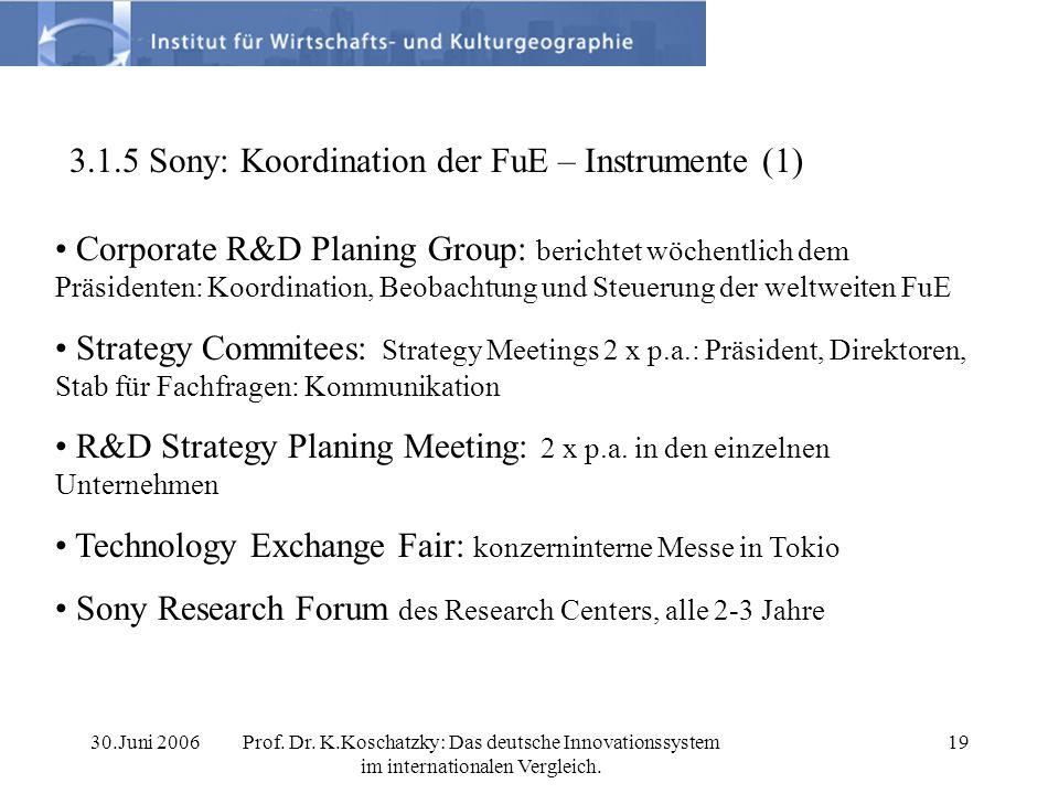 30.Juni 2006Prof. Dr. K.Koschatzky: Das deutsche Innovationssystem im internationalen Vergleich. 19 3.1.5 Sony: Koordination der FuE – Instrumente (1)