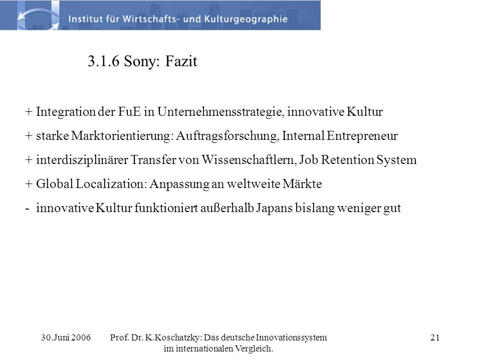 30.Juni 2006Prof. Dr. K.Koschatzky: Das deutsche Innovationssystem im internationalen Vergleich. 21 3.1.6 Sony: Fazit + Integration der FuE in Unterne
