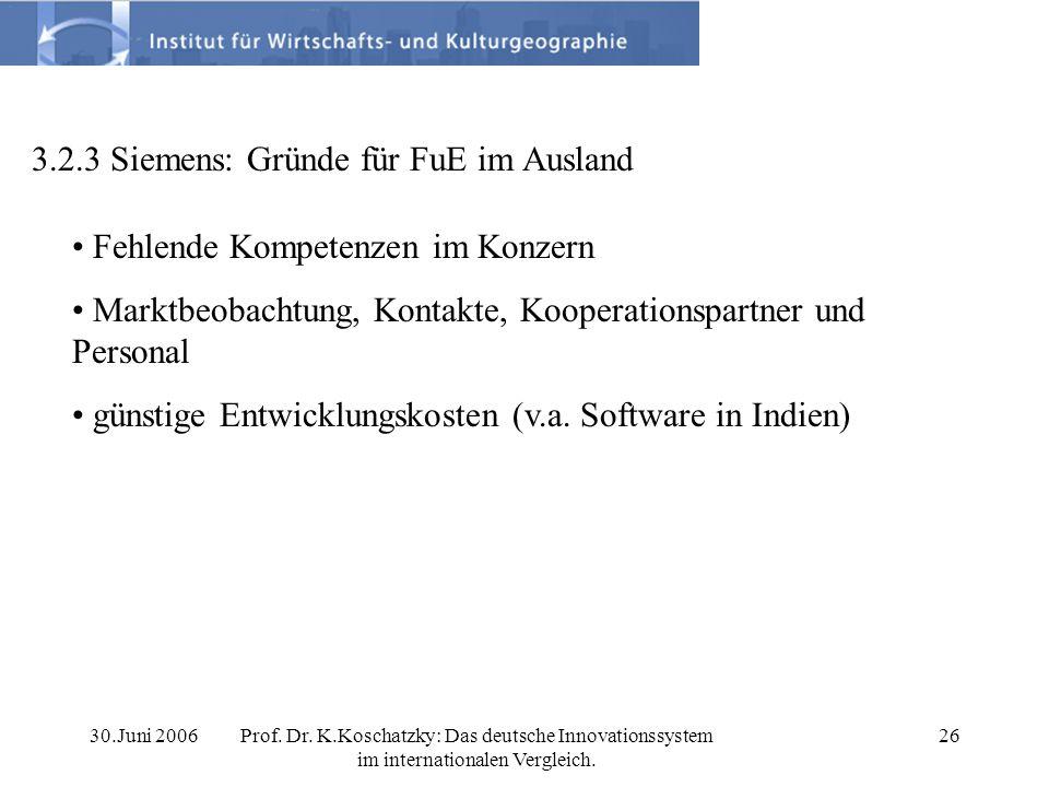 30.Juni 2006Prof. Dr. K.Koschatzky: Das deutsche Innovationssystem im internationalen Vergleich. 26 3.2.3 Siemens: Gründe für FuE im Ausland Fehlende