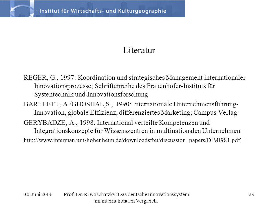 30.Juni 2006Prof. Dr. K.Koschatzky: Das deutsche Innovationssystem im internationalen Vergleich. 29 Literatur REGER, G., 1997: Koordination und strate