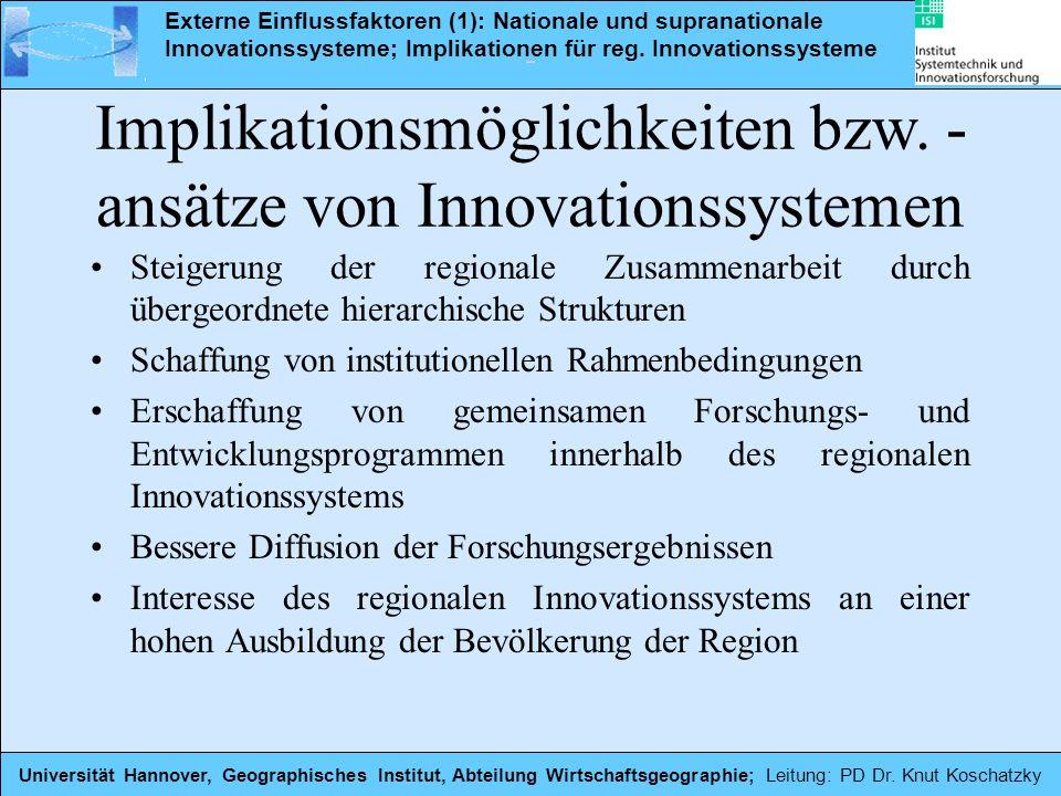 Steigerung der regionale Zusammenarbeit durch übergeordnete hierarchische Strukturen Schaffung von institutionellen Rahmenbedingungen Erschaffung von
