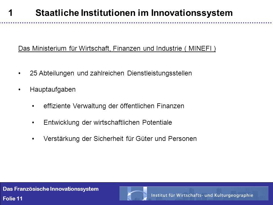 11 1Staatliche Institutionen im Innovationssystem Das Französische Innovationssystem Folie 11 Das Ministerium für Wirtschaft, Finanzen und Industrie (