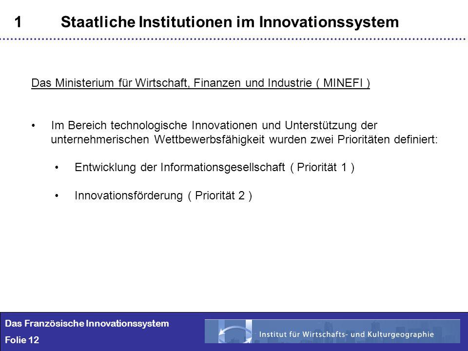 12 1Staatliche Institutionen im Innovationssystem Das Französische Innovationssystem Folie 12 Das Ministerium für Wirtschaft, Finanzen und Industrie (