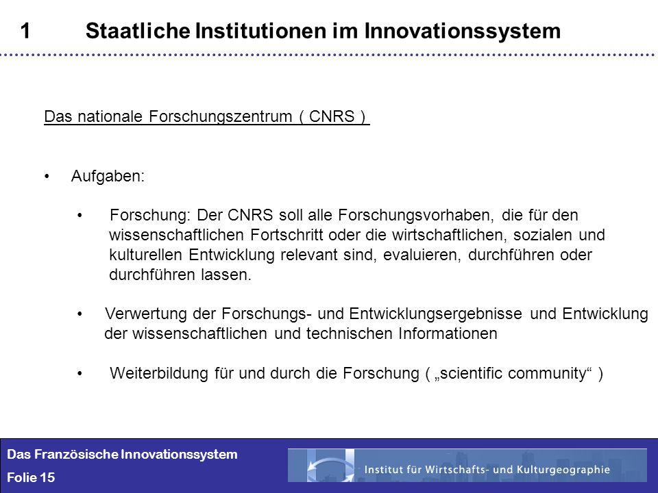 15 1Staatliche Institutionen im Innovationssystem Das Französische Innovationssystem Folie 15 Das nationale Forschungszentrum ( CNRS ) Aufgaben: Forsc