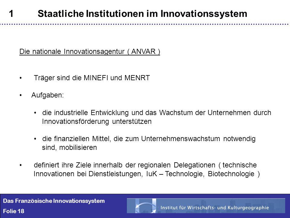 18 1Staatliche Institutionen im Innovationssystem Das Französische Innovationssystem Folie 18 Die nationale Innovationsagentur ( ANVAR ) Träger sind d