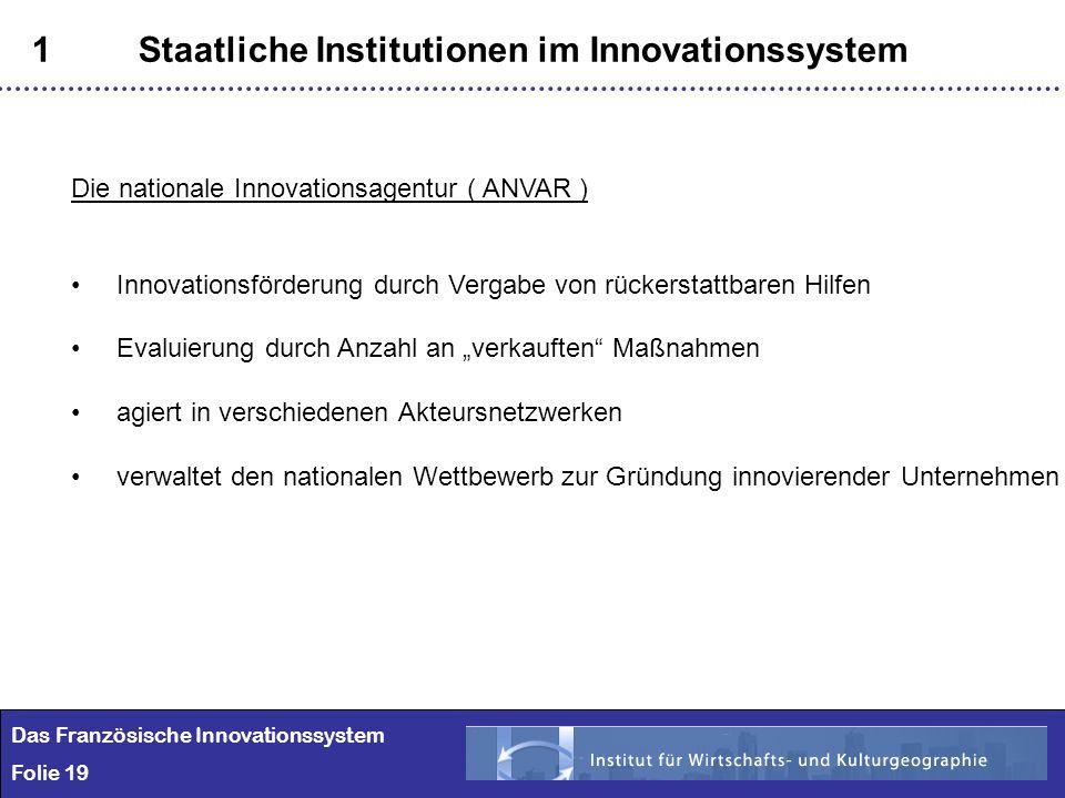 19 1Staatliche Institutionen im Innovationssystem Das Französische Innovationssystem Folie 19 Die nationale Innovationsagentur ( ANVAR ) Innovationsfö