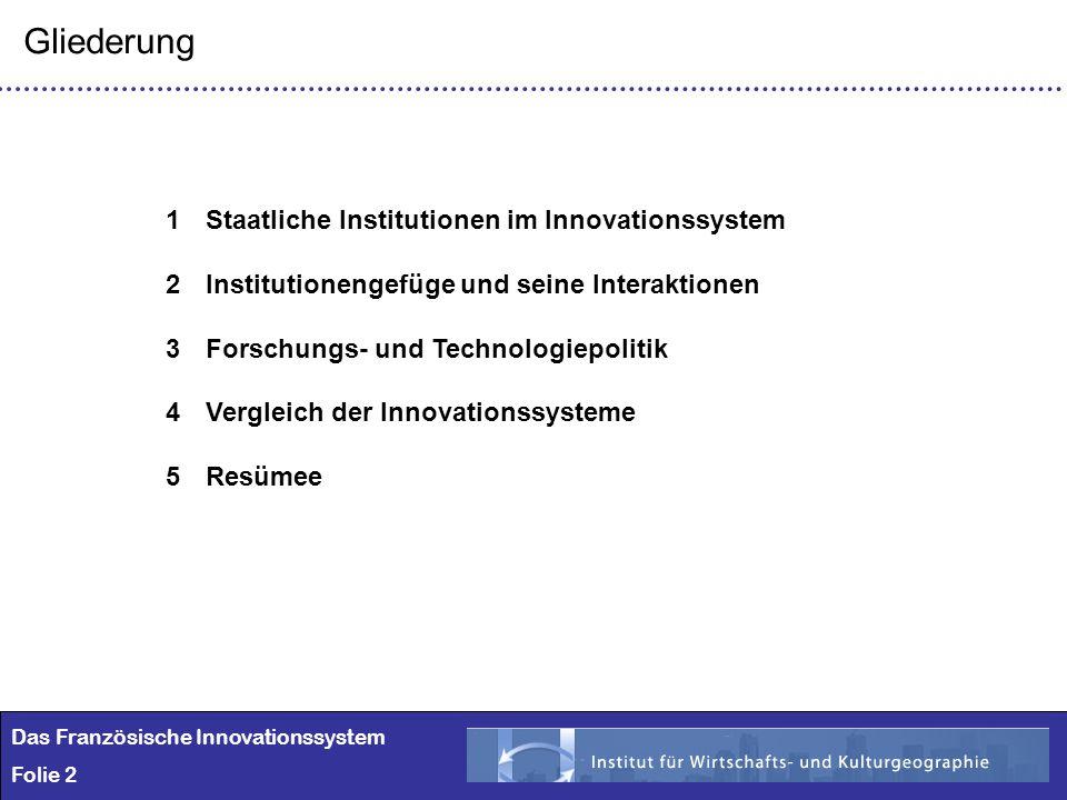 2 Das Französische Innovationssystem Folie 2 1Staatliche Institutionen im Innovationssystem 2Institutionengefüge und seine Interaktionen 3Forschungs-