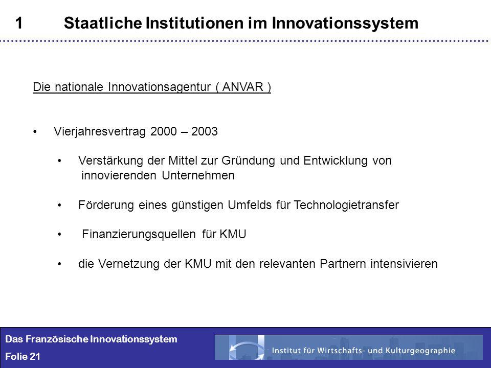 21 1Staatliche Institutionen im Innovationssystem Das Französische Innovationssystem Folie 21 Die nationale Innovationsagentur ( ANVAR ) Vierjahresver