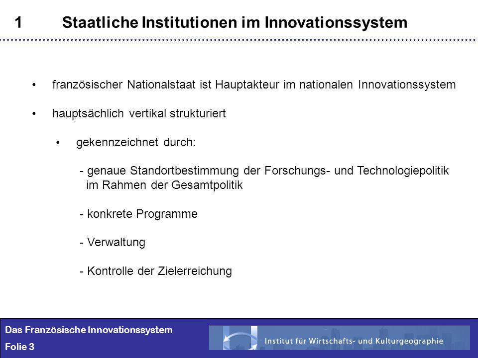 3 1Staatliche Institutionen im Innovationssystem Das Französische Innovationssystem Folie 3 französischer Nationalstaat ist Hauptakteur im nationalen