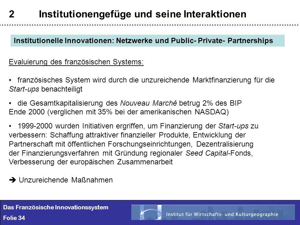 34 2Institutionengefüge und seine Interaktionen Das Französische Innovationssystem Folie 34 Institutionelle Innovationen: Netzwerke und Public- Privat
